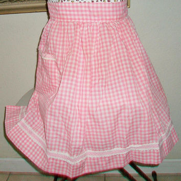 Pink Gingham Hostess Apron Checkered Pattern Kitchen Cooking Entertaining Gifts For Her