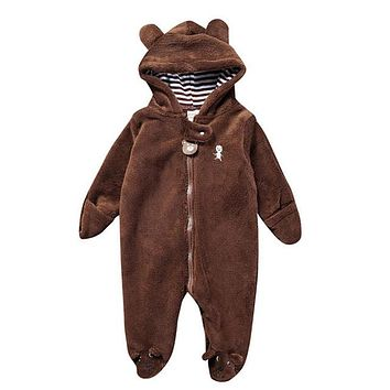 Baby's Brown Bear Onesuit w/Hood