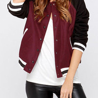 Burgundy Striped Long Sleeve Jacket