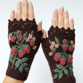 Knitted Fingerless Gloves, Raspberry, Brown, Gloves & Mittens, Gift Ideas, For Her, Winter Accessories, Accessories, Autumn