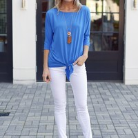 Bright Blue Michael Stars Dolman Tee with Tie Waist-$88.00 | Hand In Pocket Boutique
