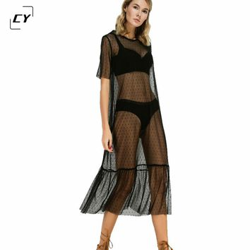 Summer Beach Dress Women Black Ruffle Hem Sheer Dotted Mesh Sunscreen Dress Ladies Short Sleeve High Low Sexy Midi Dress