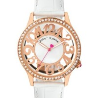 Betsey Johnson Women's White Leather Strap Watch 41mm BJ00331-03 | macys.com