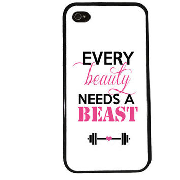 Beauty & Beast iPhone Case / Gym iPhone 4 Case Funny iPhone 5 Case iPhone 4S Case iPhone 5S Case Weights Lifting Disney LOL Quote Phone Case