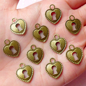 Heart Key Lock Charms (10pcs) (13mm x 16mm / Antique Bronze / 2 Sided) Valentines Bracelet Earrings Zipper Pulls Bookmarks Key Chains CHM606