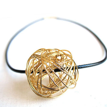 minimalist pendant abstract jewelry black cord and gold cool valentine basic gift circle necklace artisan necklace abstract pendant