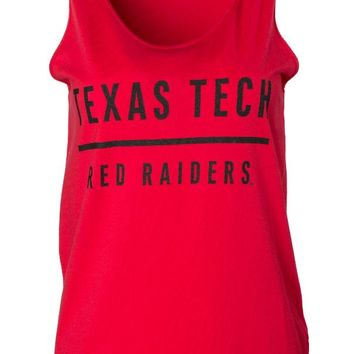 Official NCAA Texas Tech University Red Raiders TTU Masked Raider WRECK EM! Women's Oversized Boyfriend Tank