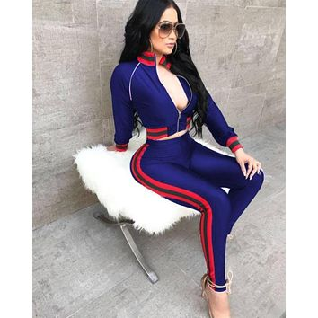 GUCCI New Popular Women Casual Round Collar Top Pants Set Two-Piece