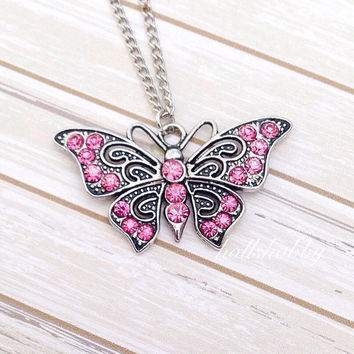 Pink Butterfly Necklace, Butterfly Necklace, Girls Butterfly Necklace, Butterfly Charm Necklace, Pink Butterfly Jewelry, Christmas Gifts