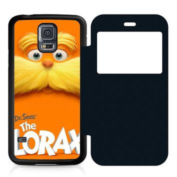 Dr Seuss Lorax Face Leather Wallet Flip Case Samsung Galaxy S5