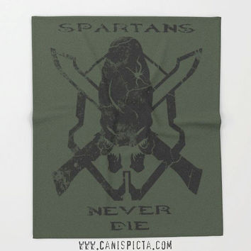 Halo Spartan Blanket Video Game Fleece Throw Home Decor Elite Decorative Fandom Legendary Skull UNSC Gamer Geek Gift Guy Green Alien Fan Art