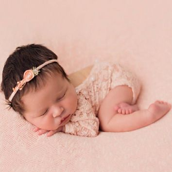 Vintage Newborn Baby Girl Lace Romper  Props Costume Clothes