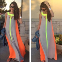 Color Block Halter Cut-Out Casual Maxi Dress