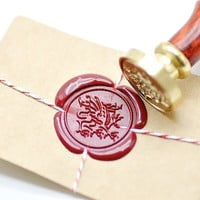 Heraldic Dragon Gold Plated Wax Seal Stamp x 1