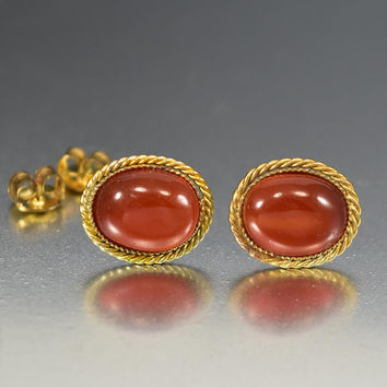 Vintage Gold Vermeil Chinese Carnelian Stud Earrings