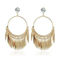 Casual Gold Tassel Round Earring