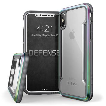 iPhone X Case, X-Doria Defense Shield Series - Military Grade Drop Tested, Anodized Aluminum, TPU, and Polycarbonate Protective Case for Apple iPhone X, [Iridescent]