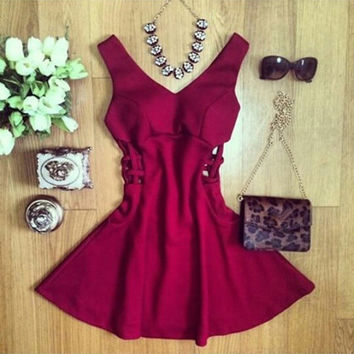 Women Fashion Casual Party Mini Dresses = 1827688196