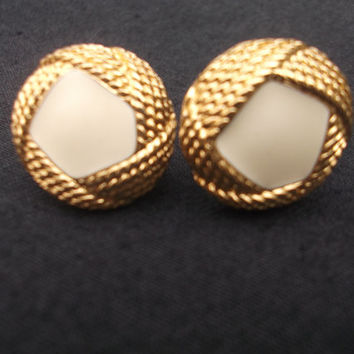 Lovely goldtone and creamy white Monet earrings