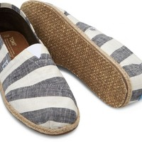 TOMS Black and White Stripes Men's Canvas Classics Slip-On Shoes,