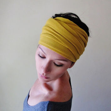 MUSTARD YELLOW Head Scarf, Hair Wrap, Headband - Bohemian Womens Hair Accessories - Golden Head Scarves, Hair Wraps