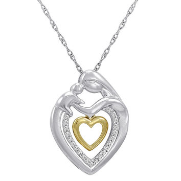 Sterling Silver and 14K Gold Mother and Child 1/10ct TW  Diamond Heart Pendant-Necklace