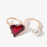 Heart and Pearl Double Ring