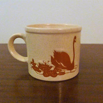 Vintage 1970s Stoneware Black Swan Mug / Made in Japan / Brown Toned Retro Mug