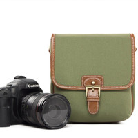 Small Green PU Leather DSLR Camera Bags  Camera Bag 1356