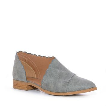 Gray Trixie Scalloped Open Flats