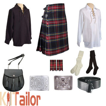 Black Stewart Tartan Outfit Package Custom Made