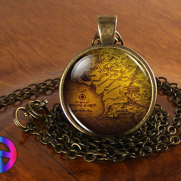 Lord of the Rings LotR Antique Vintage Map Fashion Necklace Pendant Jewelry Gift