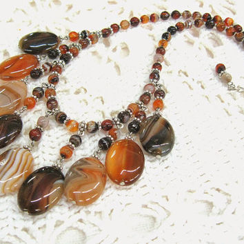 Agate fringe necklace rusty orange black brown tiger fire flame fall colors earthy statement bib collier natural gemstone stripy agates