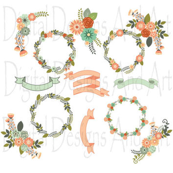 Flower clipart, Floral clipart, Flowers digital clip art, Floral clip art, Flower ribbons, Invitation Label Tags, Pink flower, Mint green