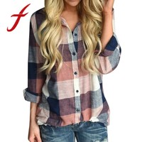 Feitong Women Shirts Casual Matching Color Long Sleeve Button Loose Plaid Shirt Blouses And Tops blusas mujer de moda 2018 New