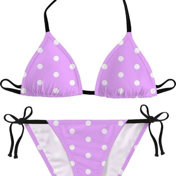 Classic pink, purple polka dots themed bikini set, dotted girls swim suit, retro style