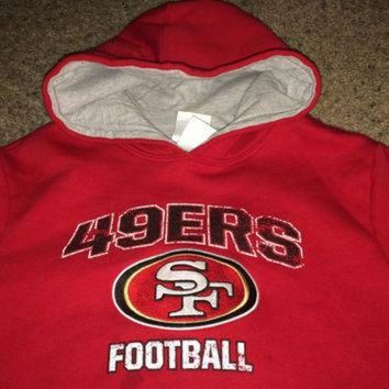 DCCK8X2 Sale!! Vintage San Francisco SF 49ers football hooded sweater NFL youth shirt jersey