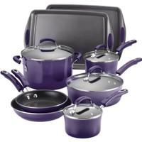 Rachael Ray Porcelain Enamel II Nonstick 12-Piece Cookware Set, Purple Gradient