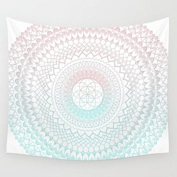 Miami Pastel Mandala Wall Tapestry,  geometric mandala with light coral and aqua,  dorm room decor