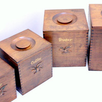 Americana Wood Canister Set of Four with Eagle Emblem.  Flour, Sugar, Coffee, and Tea Canisters. Nesting Canisters.