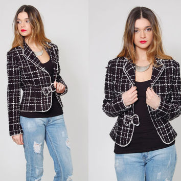 Vintage 90s CROP Jacket Black & White Fitted Blazer BOUCLE Wool Window Pane Jacket with BOW