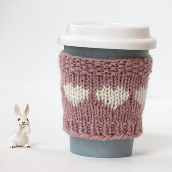 Pink Cup Cozy / Cream Hearts Cup Warmer / Hand Knit Coffee Sleeve / Knitted Wool Coffee Cup Sleeve / Easter gift