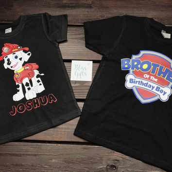 Customized Birthday Paw Patrol Character with Name Shirt
