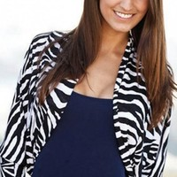 Zebra Dolman Cardigan - Diva Hot Couture