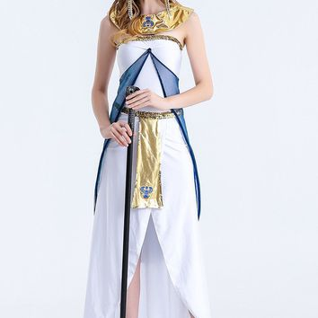 MOONIGHT Halloween Costume Greek Goddess Costume Queen Of Egypt Fitted With A White Arabia Girl Cosplay