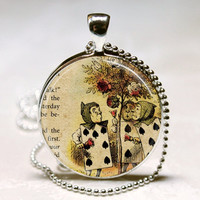 Alice In Wonderland Necklace Painting the Roses Red Once Upon a Time Fairy Tale Art Pendant with Ball Chain Included