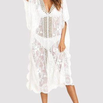 White Lace Insert Embroidered Mesh Cover Up Dress