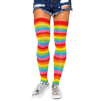 Rainbow Wishes Multicolor Stripe Pattern Thigh High Stockings Tights Hosiery