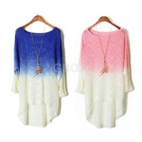 Batwing Knitted Loose Sweater Cardigans Women Long Sleeve Gradient Knitwear Tops = 1697486916