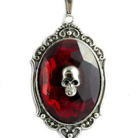 Death Skull w/ Red Stone Necklace Gothic Victorian Jewelry Pendant